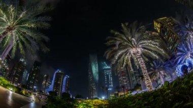 Famous place River Walk And Dubai Marina with skyscraper — Stock Video