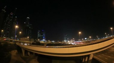 Time lapse Rush Hour on Sheikh Zayed Road at night — Stock Video