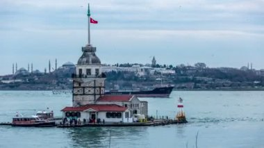 Time Lapse Photography, Maiden Tower at cloudy day — Stock Video