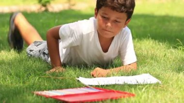 Child drawing on the grass — Stock Video