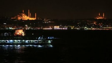Famous city Istanbul skyline at night — Stock Video