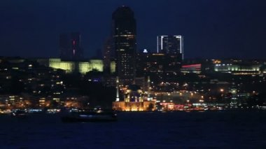 Famous city Istanbul skyline at blue hours — Stock Video