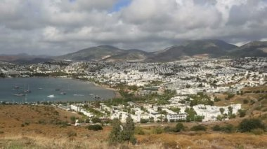 Very famous place travel destination Bodrum Bay (pan shoot) — Stock Video