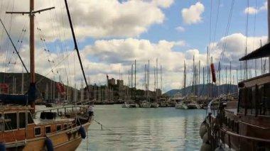 Very famous place travel destination Bodrum Harbor (time lapse) — Stock Video