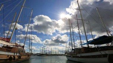 Very famous place travel destination Bodrum Harbor — Stock Video