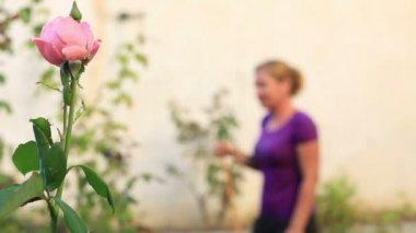 Blonde woman watering the garden — Vídeo de Stock