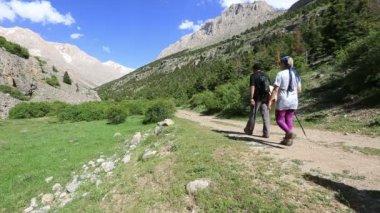 Hiking group walking through valley 4 — Stock Video