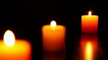 Three candle burning  7 HD 1080p — Stock Video
