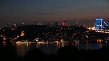 Blue time Fatih Sultan Mehmet Bridge 4 — Stock Video