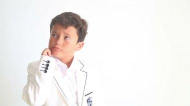 Cute child thinking — Stock Video