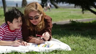 Mother and son painting in the park 2 — Stock Video