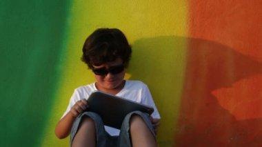 Boy using digital tablet 3 — Stock Video