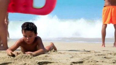 Cute boy on the beach — Stock Video