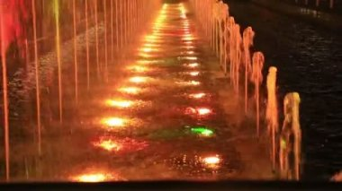 Multicolor fountains by night — Stock Video
