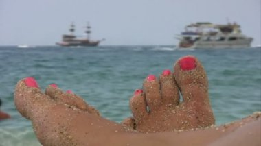 Summer holiday scenics at the beach — Stockvideo