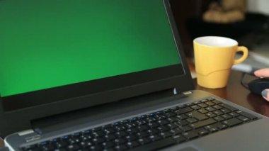 Woman working Chromakey laptop — Stock Video