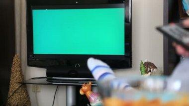 Woman Watching Chromakey TV — 图库视频影像