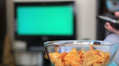 Woman Watching Chromakey TV — Stock Video