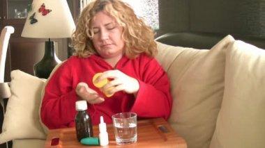 Sick women taking her pills — Vídeo de Stock