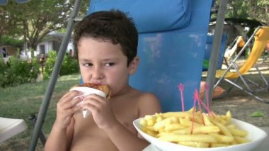 Little boy eating burger and fries — Stock Video
