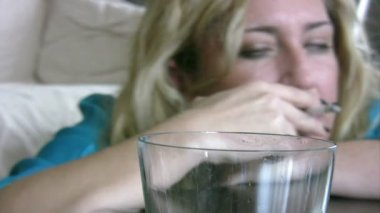 Woman drinking alcohol — Stock Video