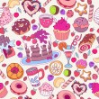 Vector hand drawn seamless pattern with cake, tea, coffee and  sweets, candies and lollipops, colorful perfect background — Stock Vector #78999964