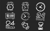 Chalk board clocks — Stock Vector