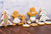 Christmas homemade gingerbread cookies on table — Stock Photo