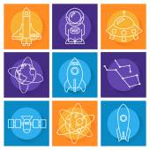 Set of space objects. Line art style — Vettoriale Stock