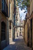 Narrow street of barcelona — Stock Photo