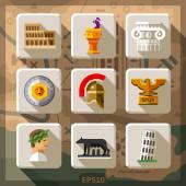 Roman Empire flat icon set — Stock Vector