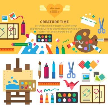 Creative set for artist. Ideas, creativity, design