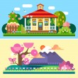 Flat spring and summer  landscapes — Stock Vector #73636289