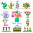 Flower shop. Hello spring and summer — Stock Vector #73636295