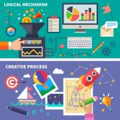 Logical and the creative process — Stock Vector