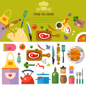 Kitchen, cooking — Stock Vector