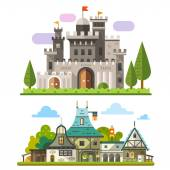 Medieval stone fortress — Stock Vector
