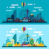 Dia e noite paisagem da cidade — Vetor de Stock