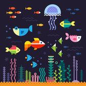 Sea life. Underwater world — Stock Vector