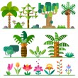 Tropical plants. Different types of trees, flowers — Stock Vector #74374309