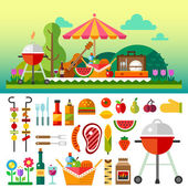 Summer picnic in meadow with flowers — Stock Vector