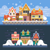 Winter houses. Day and night. Snowfall. — Stock Vector