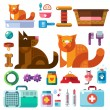 Domestic animals with their toys — Stock Vector #75089105