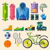 Clothing and shoes for active recreation — Stock Vector