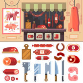 Variety of food in the butcher shop, delicious meat products for sale — Stock Vector