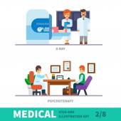 Medical illustration of the reception at the doctor — Stock Vector