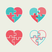 Puzzle hearts — Stock Vector
