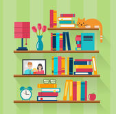 Bookshelves with books in room interior — Stock Vector