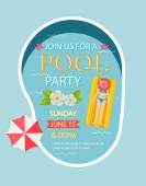 Pool party invitation  with top view of pool — Stock Vector