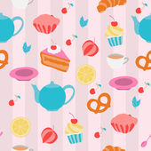 Seamless pattern with tea pots, cups and sweeties. Vector illust — Stock Vector